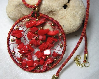 Red Coral Net  Kumihimo Pendant Necklace
