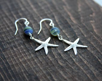starfish earrings, glass bead and sterling silver starfish earrings, earrings, beach earrings,  starfish dangle earrings, everyday jewelry