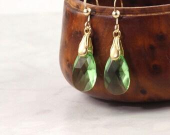 Green Teardrop Earrings Gold Dangle Earrings Spring Green Jewelry Bridal Earrings Wedding Jewelry Peridot Earrings August Birthstone