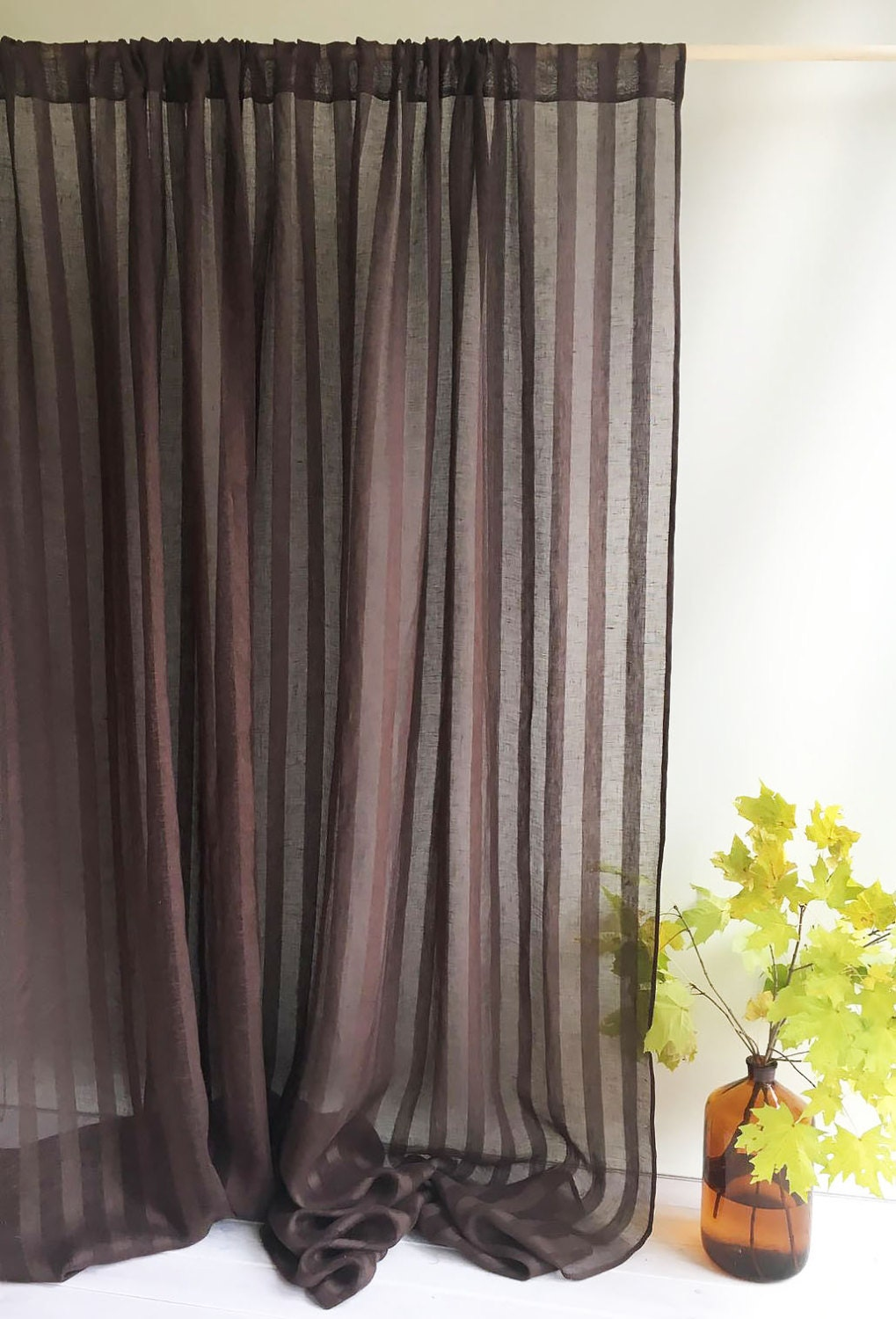 102 Wide Curtain Panel, Linen Curtain, Brown Curtains, Sheer Window Curtains  And Drapes, Chocolate Curtains For Living Room, Drapery