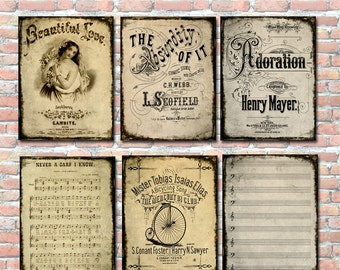Vintage Music Covers Song Sheet Junk Journal Pages Pocket Cards Journal Spots Ephemera Printable Instant Download Collage Sheet Digital Art