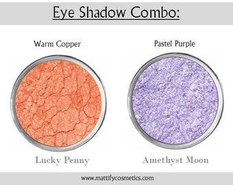 Copper Eye Shadow / Purple Eyeshadow Duo Summer Smoky Eye Makeup Looks Sunset Crease-Free Built In Primer by Mattify Cosmetics
