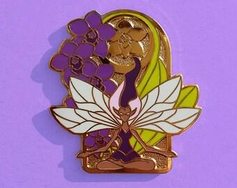 Flower Fairy Pin / Flower Pin / Purple Pin / Hard Enamel Pin / Art Nouveau Pin / Flower Gift / Darker Skin / Orchid Pin