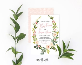 Baptism Invitation, Prints, Girl Floral Wreath Invite, Blush Pink, Simple, Modern, Watercolor, 1st Communion, Greenery, Christening, Naming