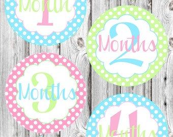 Monthly Baby Stickers - Pastel Polka Dot - Baby Girl - Photo Prop - Nursery Decor - New Baby
