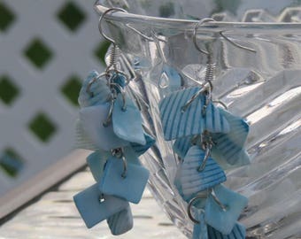 Silver earrings blue shells by JosieCoccinelle