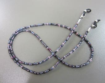 Dark Purple Mix Beaded Glasses Chain, Purple Eyeglass Chain, Black and Purple Spectacle Chain, Gothic Mix Glasses Chain