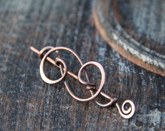 "Shawl pin, scarf pin, sweater pin, sterling silver or copper shawl pin ""Fancy swirls"", silver shawl pin, copper brooch, cardigan clasp,"