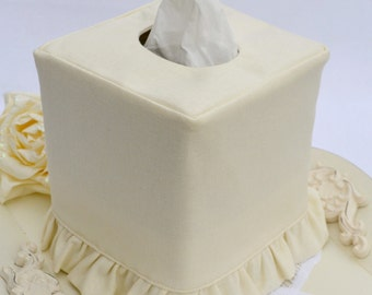 Ivory Linen ruffled tissue box cover