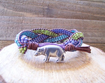 Adorable Hippopotamus Beaded Braided Leather Wrap Cuff Bracelet, Beaded Cuff, Hippopotamus Bracelet, Hippopotamus Jewelry, Leather Jewelry