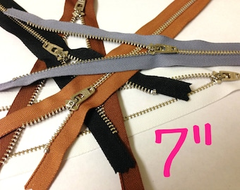 Silver teeth zippers, 7 inch YKK zippers wholesale, FIVE pcs, nickel zippers with locking slider, black, brown, grey, white