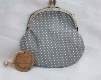 Large Grey and White Polka Dot Kiss Clasp Coin Purse/Change Purse