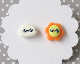 Sun and Cloud Earrings, Mismatch Earrings, Cute Earrings, Hypoallergenic Posts, Sun Stud Earrings, Mismatch Stud Earrings, Girls Earrings