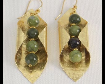 JADE - Jade Beads - Handforged Hammered Bronze Statement Earrings