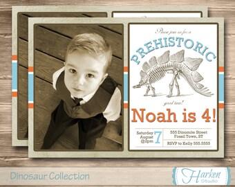 Dinosaur Photo Invitation, Dino Invite, Fossil, Stegosaurus Birthday Party, Photo, Digital, Printable, Personalized, DIY Orange Blue, Museum