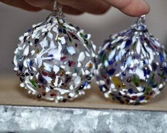 CAS glass speckled Multicolored Blown Glass Ornament