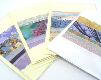 Greeting Card Set - OOAK Cards - Spring Summer Cards - Blank Greeting Card - Set of 4 cards -  Any Occassion Cards - Paper Collage cards