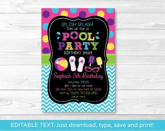 Girls Pool Party Chalkboard Birthday Invitation / Pool Party Birthday Invite / Summer Birthday / INSTANT DOWNLOAD Editable PDF A406