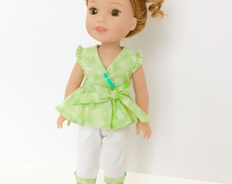 Green and White Peplum Top and Capris, Wellie Wisher Doll Clothing, 14-14.5 Inch Doll Clothing, Made To Fit Wellie Wishers, Hearts 4 Hearts