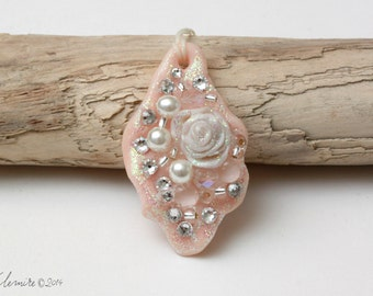 Necklace with hand sculpted Rose