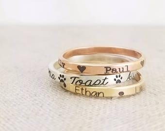 Personalized Custom Name Ring - Mother Gift - Name Ring -  Pet Gift - Personalized Gift - Rose Gold Ring - Mixed Metal Stacking Ring - Ring