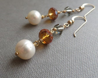White Pearl Crystal Gold Dangle Earrings