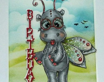 2057 Butterfly Hippo Digi Stamp