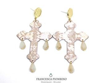 Cross earrings, paper earrings, statement earrings, maxi earrings, beige earrings, pendant earrings, large earrings.