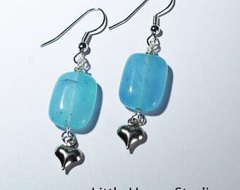 Earrings, heart, silver, sea glass, pacific blue, blue earrings, gift for her, silver heart,silver charm, heart charm earrings, sea blue,
