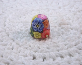 Handcrafted Colorful Millefiori Floral Polymer Clay Covered Stainless Steel Thimble