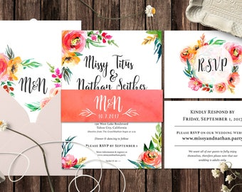 Floral wedding invitation, boho invites, Colorful wedding, Printable wedding invitation, Custom Botanical wedding invites, Bohemian flowers