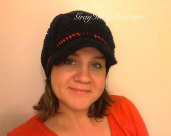 Crochet Stella Newsboy Hat - Crochet Winter Hat - Crochet Newsboy - Teen/Adult size