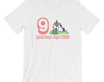 Unicorn Awesome Since 2009 T-shirt 9th Birthday Tee