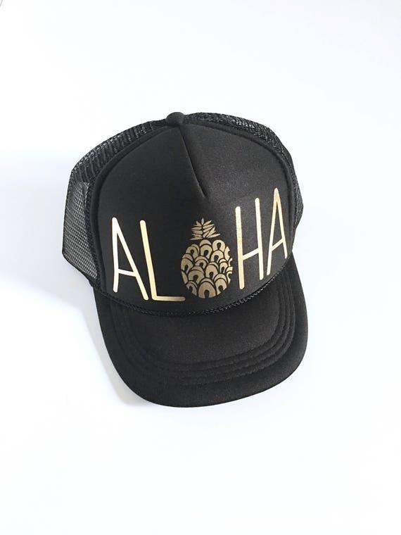 Kids Aloha Trucker Hat| Black and Gold vinyl | keiki hat| Aloha Hat| Hawaii Hat| Pineapple Hat| Pineapple| Beach Hat| kids Hat