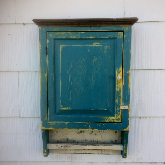 White Pine Cabinets: Distressed Chalk Paint Farmhouse Primitive White Pine Cabinet
