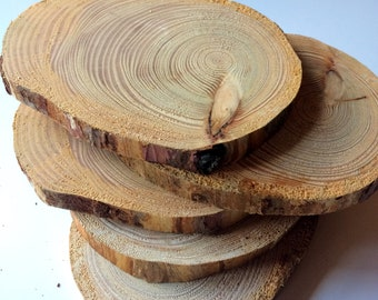 5 PCS |  Larch Tree Slices |Wooden Circles | Wooden Discs | Wooden Slices | Rustic Wood Slices For DIY | Larch Tree | Wood Discs For Craft|