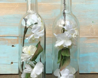 Set of Two Wine Bottle Floral Shelf Sitters