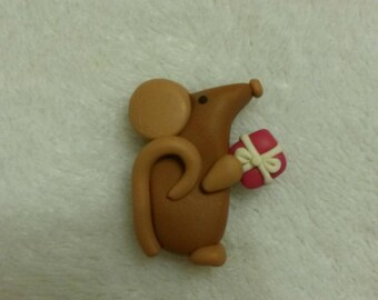 Ratty Rat with parcel -  card making embellishment.  Polymer clay