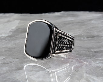 Silver Ring 925 Sterling Silver With Onyx Stone