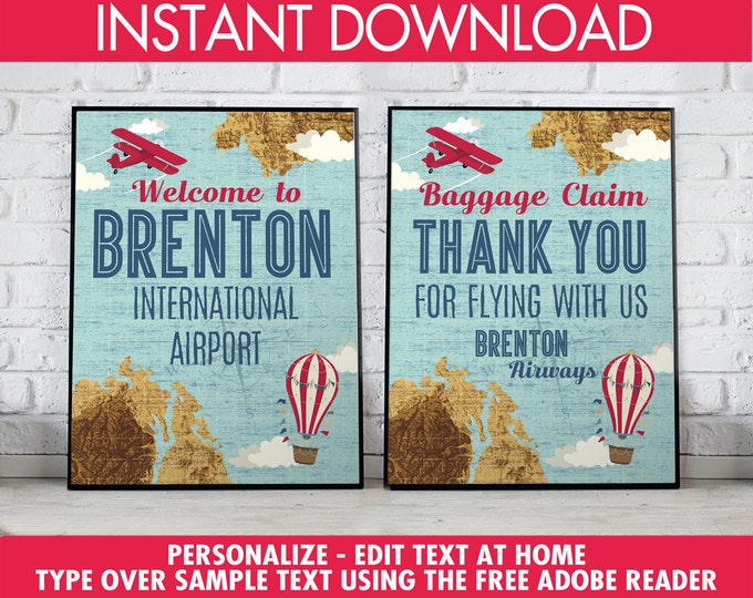 """Retro Airplane 8""""x10"""" Signs - Hot Air Balloon Sign, Aviator Party Signs - Map Party Signs, 1st Birthday - DIY Instant Download PDF Printable"""
