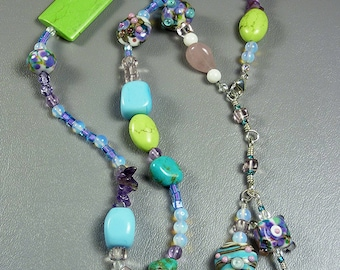 BirdDesigns Sterling Silver Lampwork Necklace - ooak - J567