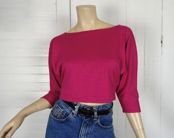TWO 90s Crop Top in Magenta & Black - Vintage 1990s Hot Pink Cropped T-shirt from Neiman-Marcus- Vintage Clothing Lot Dance Gym Workout