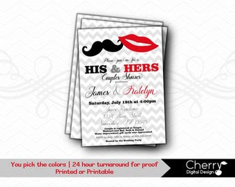 His & Hers Couples Wedding Shower Invitation | Printed or Printable Lips Mustache Wedding Shower Invitations