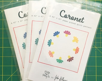 "Coronet Quilt - A 42"" x 42"" Paper Pieced Quilt Pattern PRINTED PATTERN"