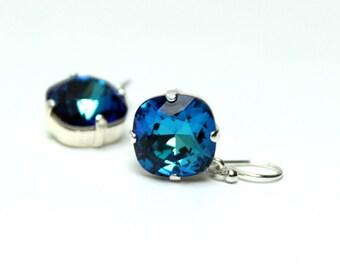 Dark Turquoise Aqua Bermuda Blue Crystal Dangle Earrings Sparkling Solitaire Swarovski 12mm 10mm Drop Sterling Silver Gold Beachy Mermaid
