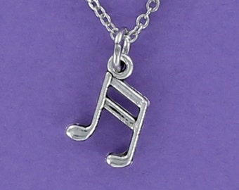 MUSIC NOTES Necklace - Pewter Charm on a FREE Plated Chain