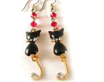 """Black Cat Earrings 2.5"""" long with red crystals and rhinestones"""