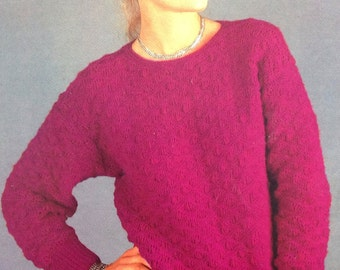 Knitting Pattern Ladies DK /Light Worsted Weight/8 Ply Jumper/ Sweater/Pullover size 32-38in 81-97cm