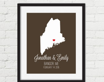 Maine Map Art Print Couples Map Custom State Map Home Decor Personalized Wedding Map Gift Anniversary Gift Map Wall Art Maine