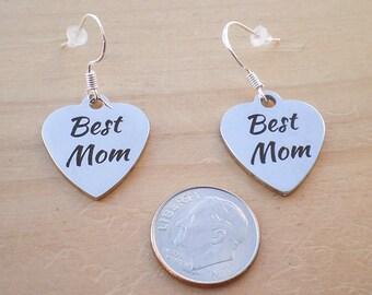 Best Mom Earrings, Mother's Day Earrings, Charm Earrings, Jewelry Findings